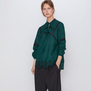 Zara Embroidered Green Black Blouse XL